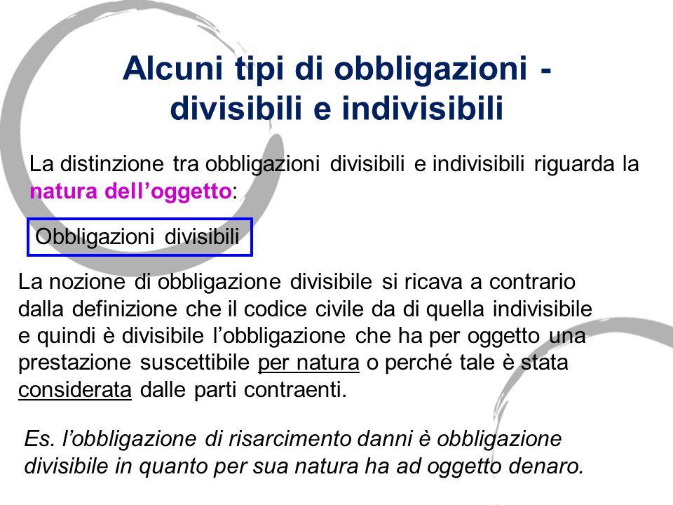 Alcuni tipi di obbligazioni - divisibili e indivisibili