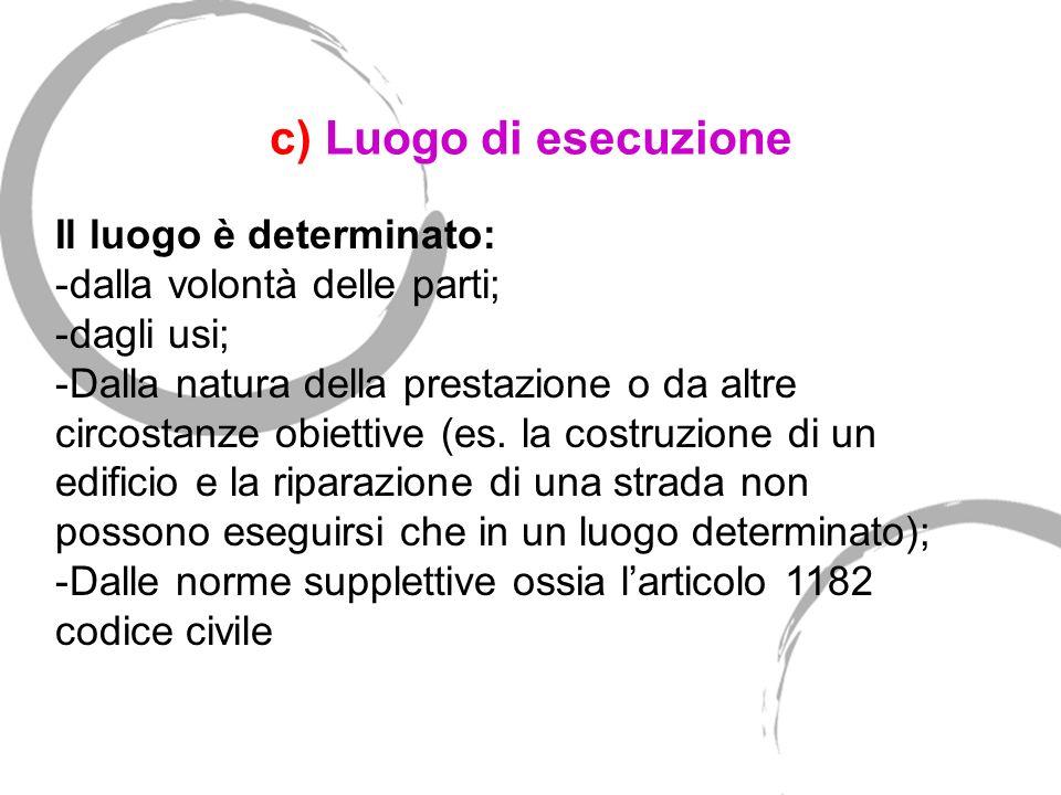 c) Luogo di esecuzione Art. 1182.Luogo dell adempimento.