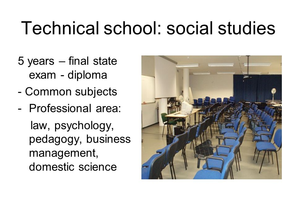 Technical school: social studies