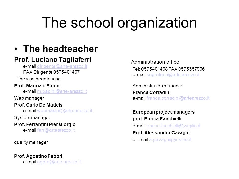 The school organization