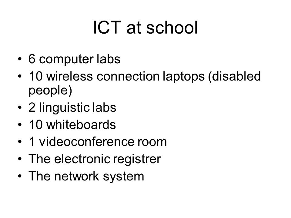 ICT at school 6 computer labs
