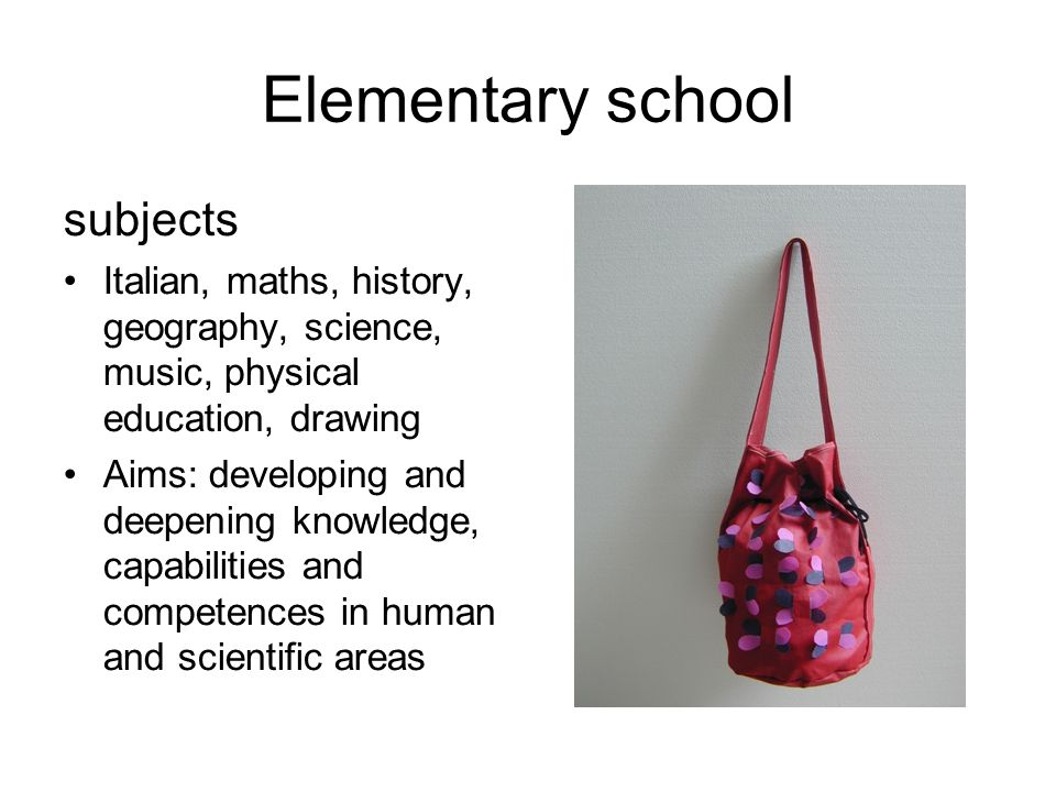 Elementary school subjects