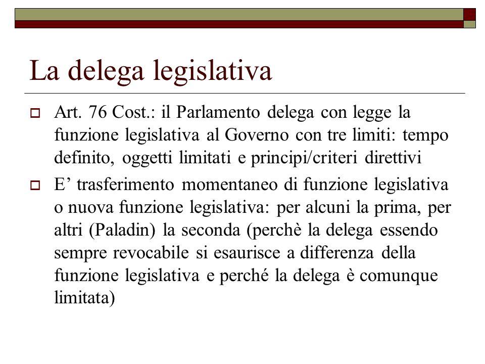 La delega legislativa