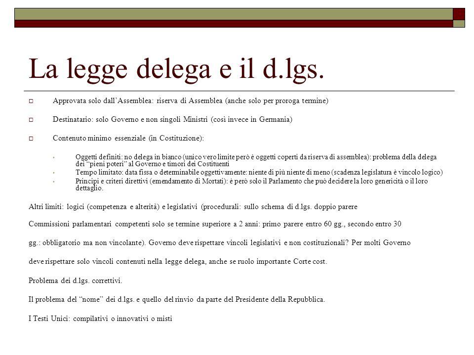 La legge delega e il d.lgs.