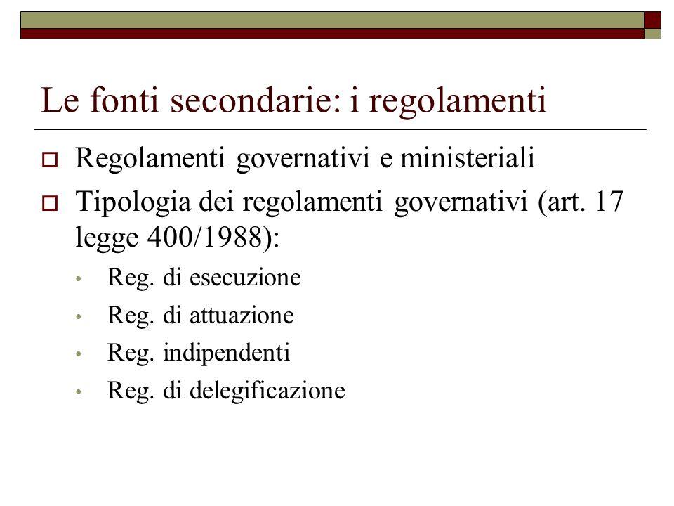 Le fonti secondarie: i regolamenti