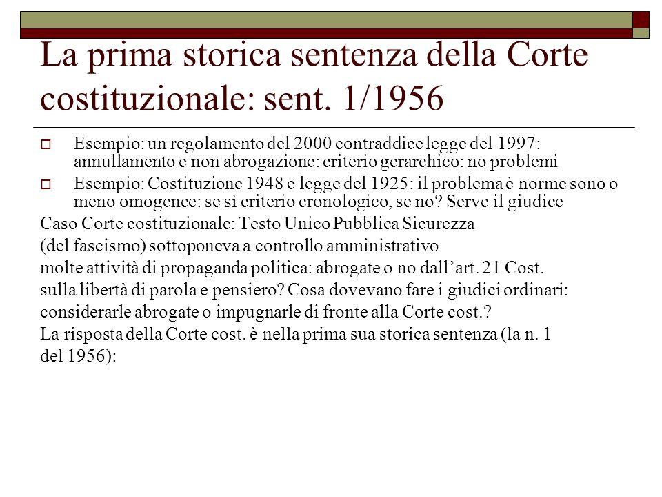 La prima storica sentenza della Corte costituzionale: sent. 1/1956