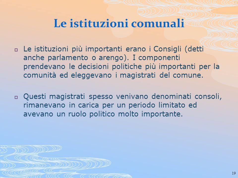 Le istituzioni comunali
