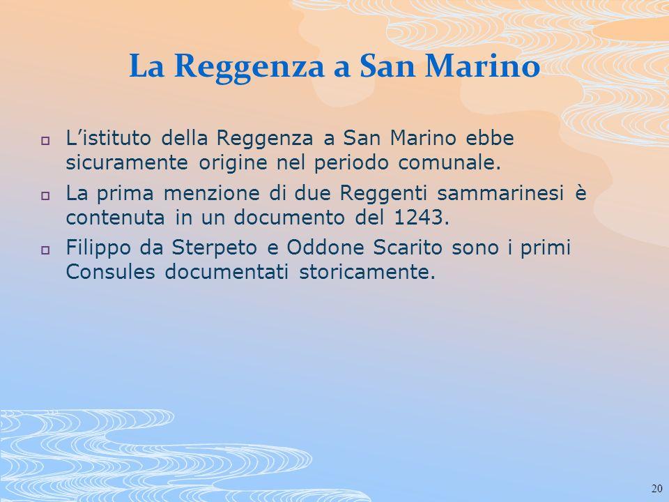 La Reggenza a San Marino