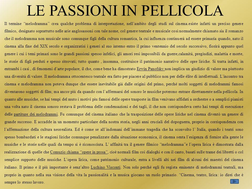 LE PASSIONI IN PELLICOLA