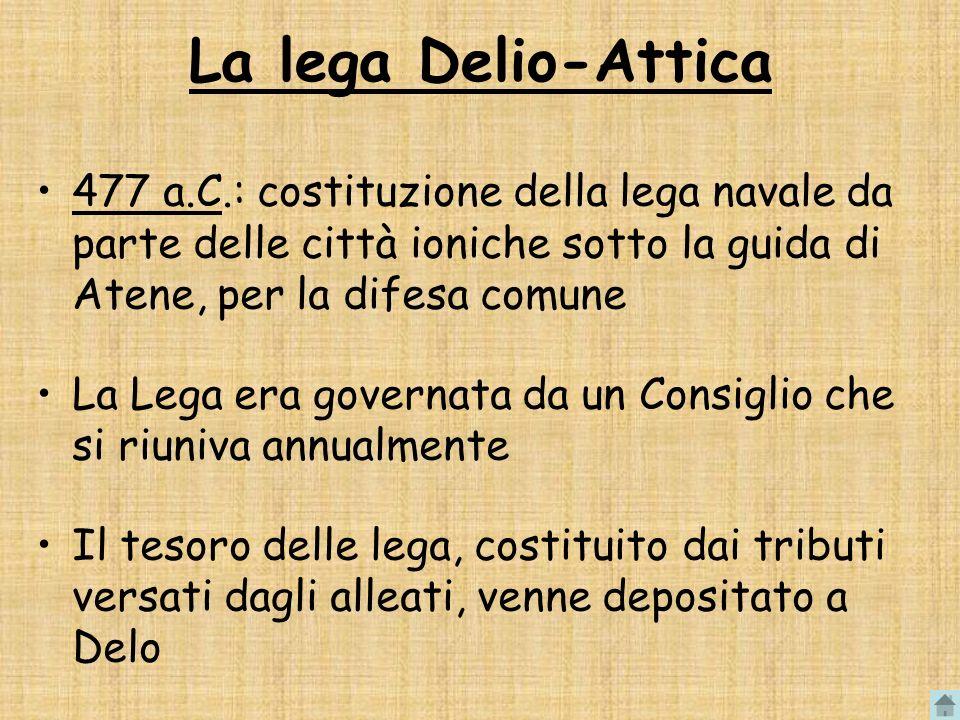 La lega Delio-Attica 477 a.C.: costituzione della lega navale da parte delle città ioniche sotto la guida di Atene, per la difesa comune.
