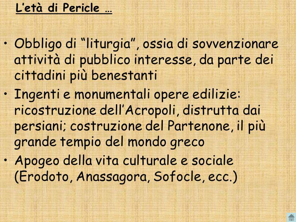 L'età di Pericle … Obbligo di liturgia , ossia di sovvenzionare attività di pubblico interesse, da parte dei cittadini più benestanti.