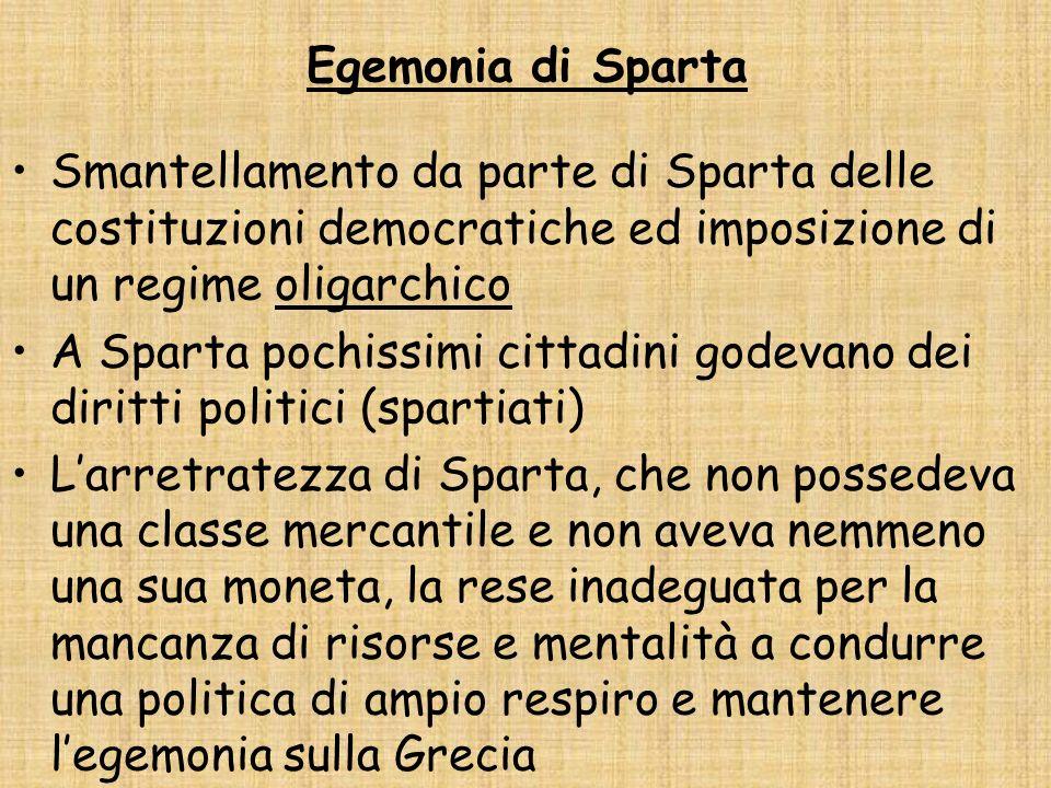 Egemonia di Sparta Smantellamento da parte di Sparta delle costituzioni democratiche ed imposizione di un regime oligarchico.