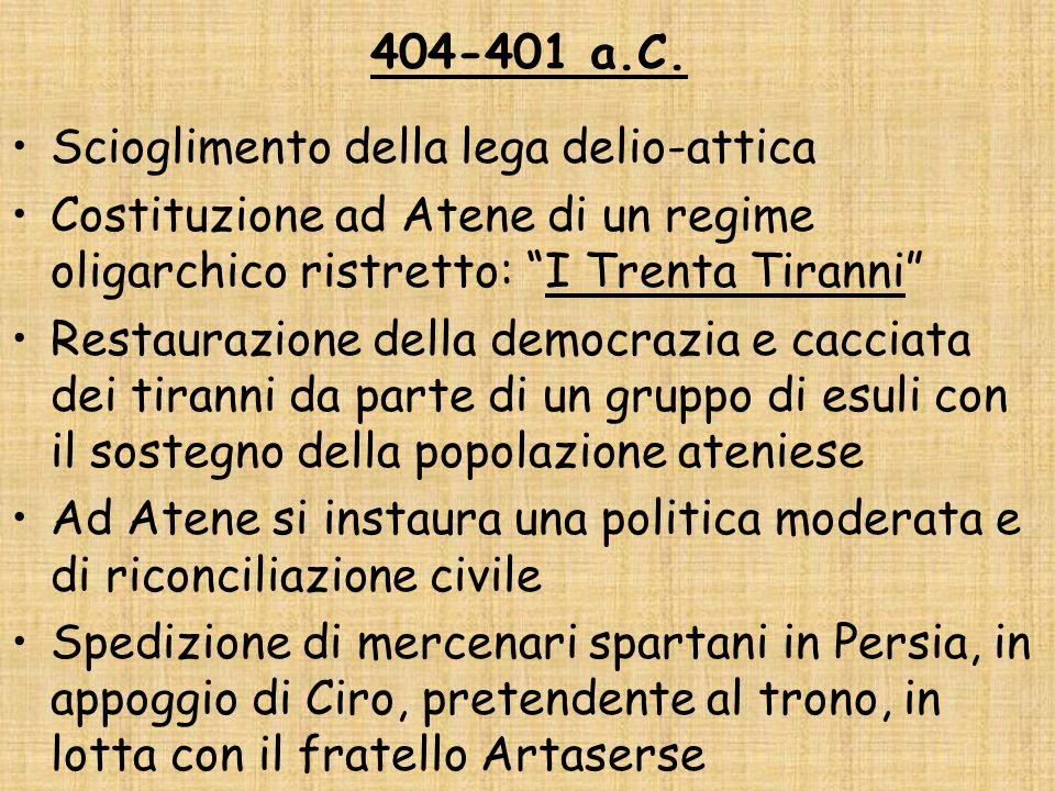404-401 a.C. Scioglimento della lega delio-attica. Costituzione ad Atene di un regime oligarchico ristretto: I Trenta Tiranni