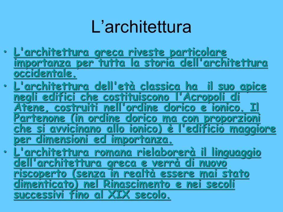 L'architettura L architettura greca riveste particolare importanza per tutta la storia dell architettura occidentale.
