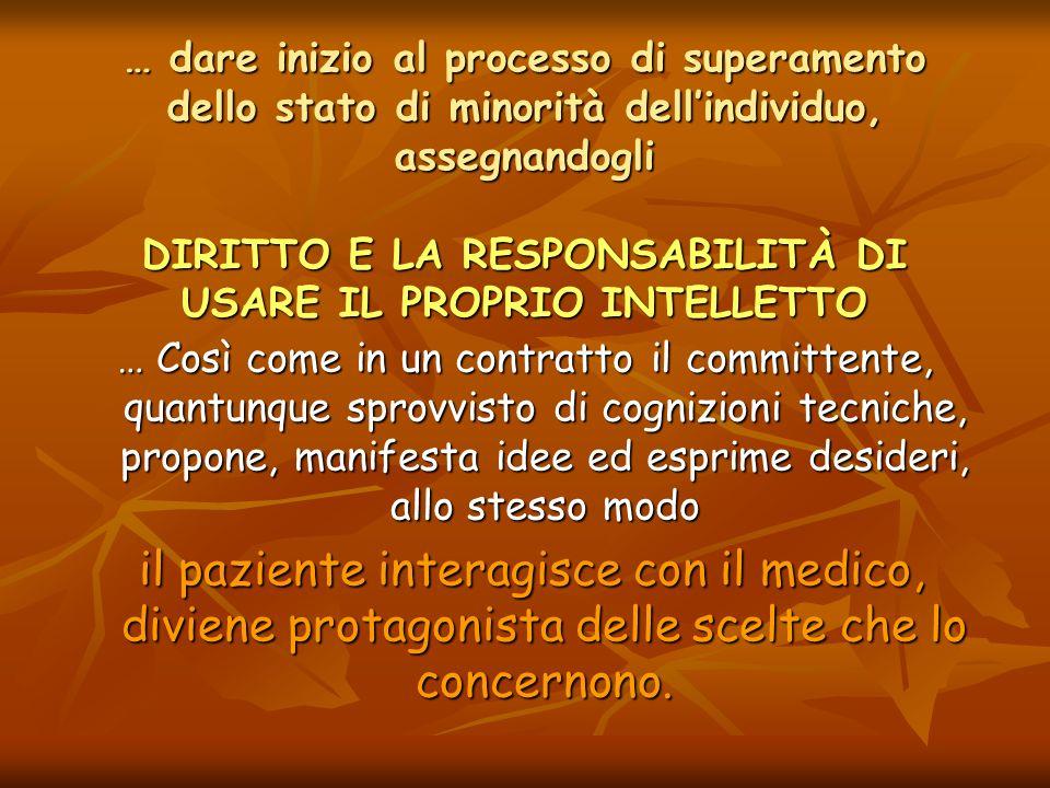 … dare inizio al processo di superamento dello stato di minorità dell'individuo, assegnandogli DIRITTO E LA RESPONSABILITÀ DI USARE IL PROPRIO INTELLETTO