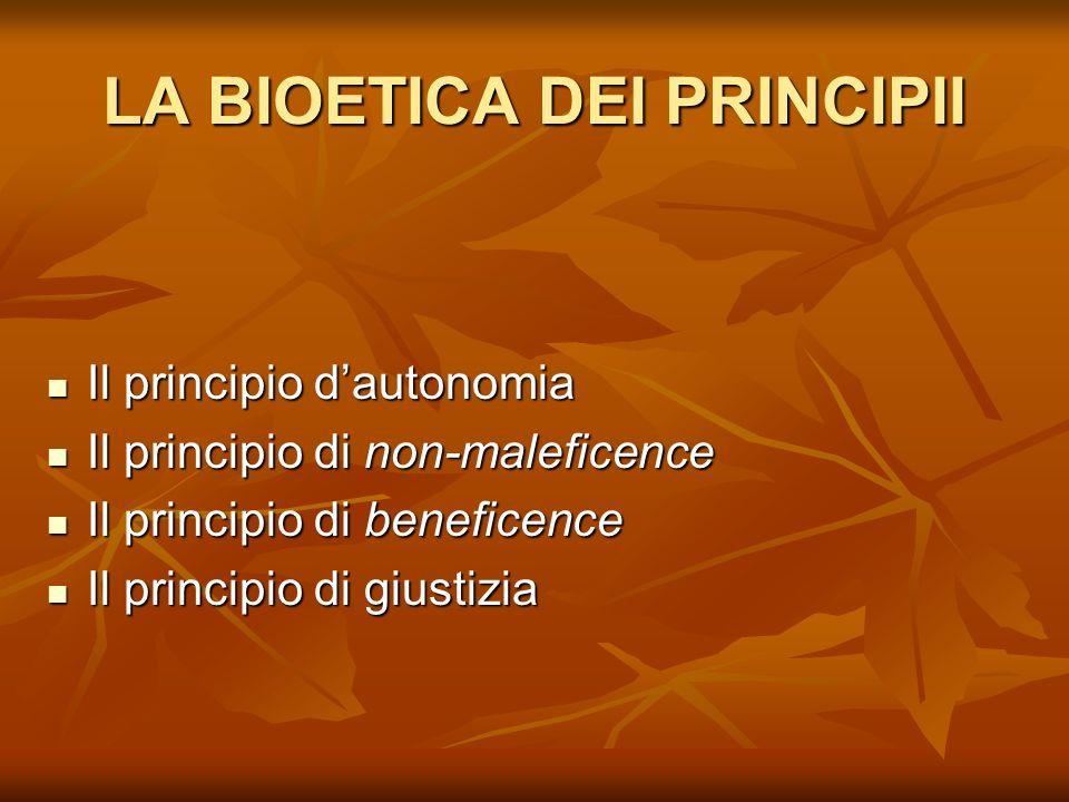LA BIOETICA DEI PRINCIPII