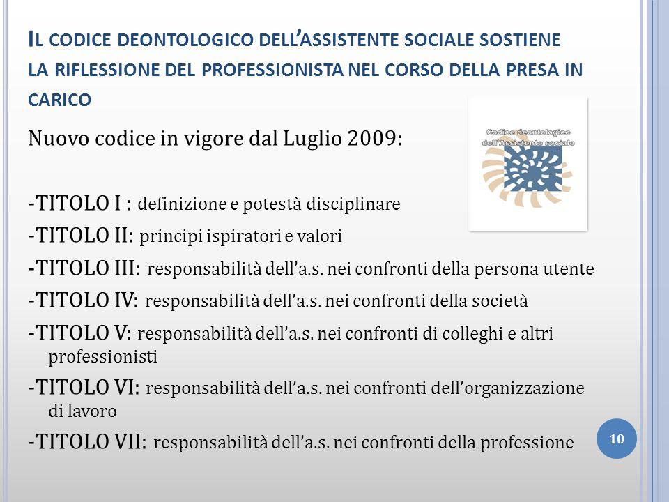 Il codice deontologico dell'assistente sociale sostiene la riflessione del professionista nel corso della presa in carico