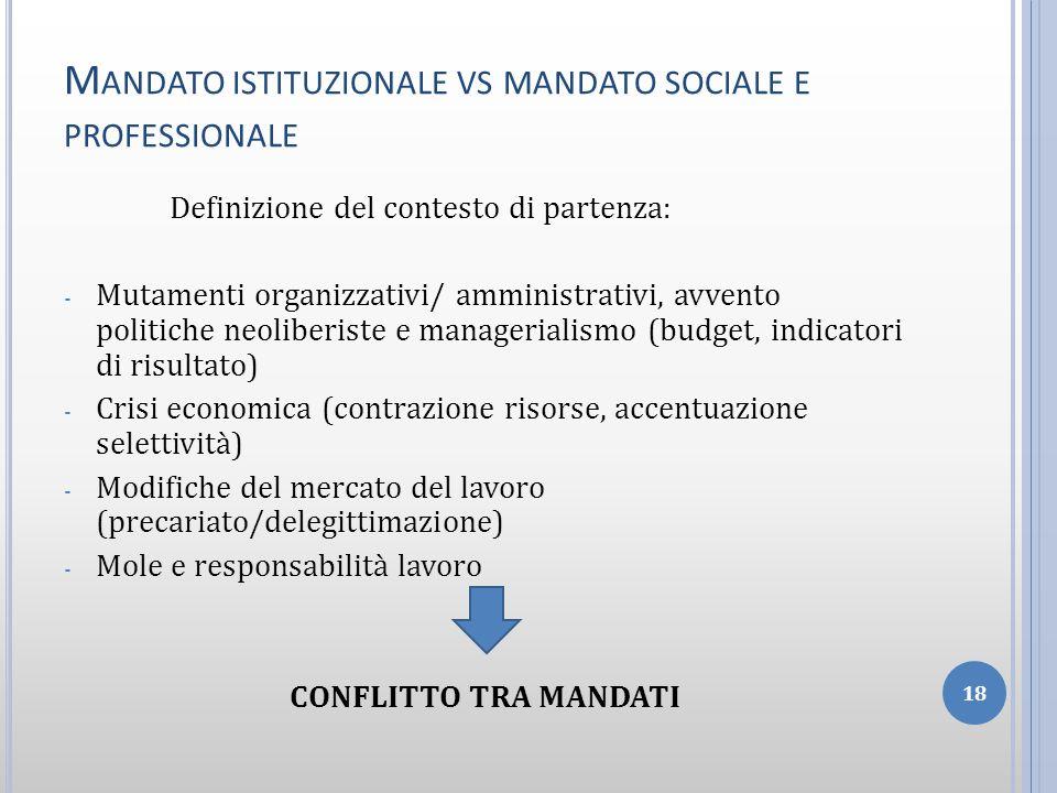 Mandato istituzionale vs mandato sociale e professionale