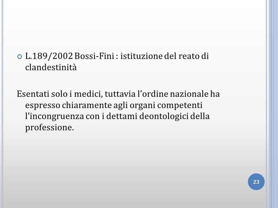 L.189/2002 Bossi-Fini : istituzione del reato di clandestinità
