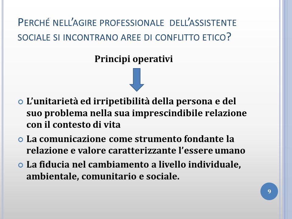 Perché nell'agire professionale dell'assistente sociale si incontrano aree di conflitto etico