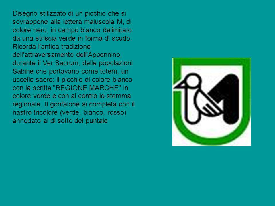 Disegno stilizzato di un picchio che si sovrappone alla lettera maiuscola M, di colore nero, in campo bianco delimitato da una striscia verde in forma di scudo.