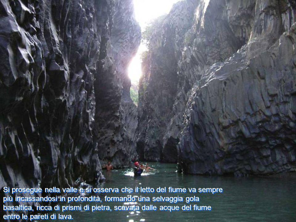 Si prosegue nella valle e si osserva che il letto del fiume va sempre più incassandosi in profondità, formando una selvaggia gola basaltica, ricca di prismi di pietra, scavata dalle acque del fiume entro le pareti di lava.