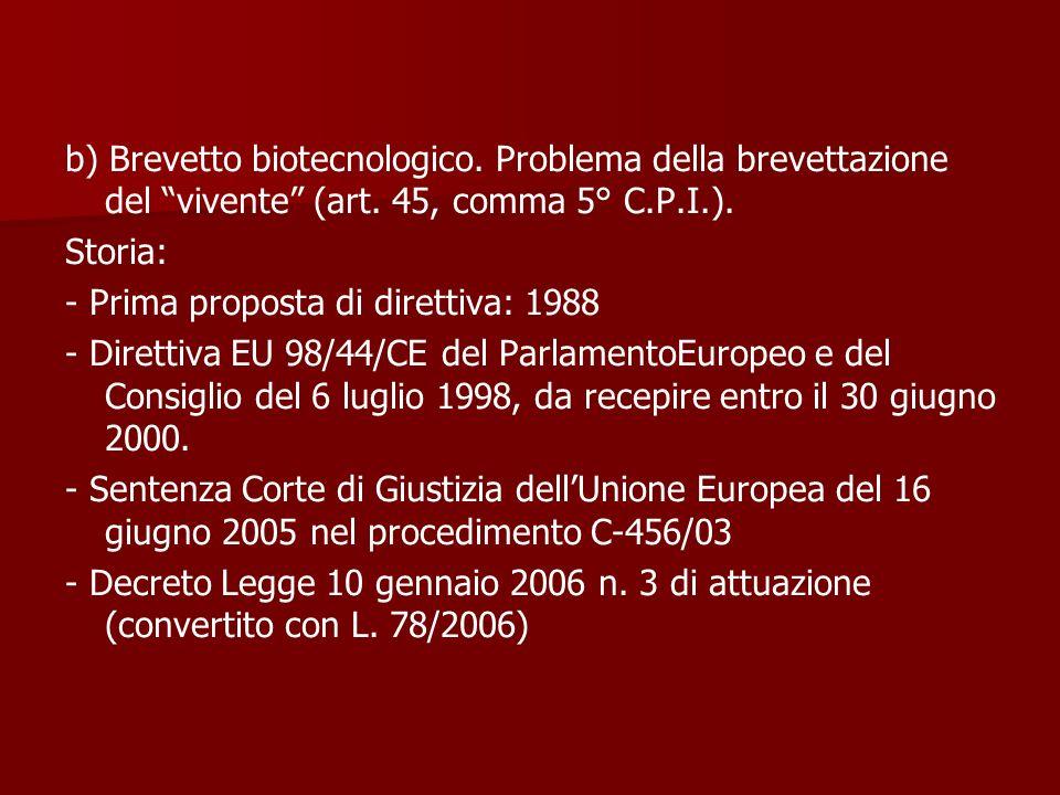 b) Brevetto biotecnologico