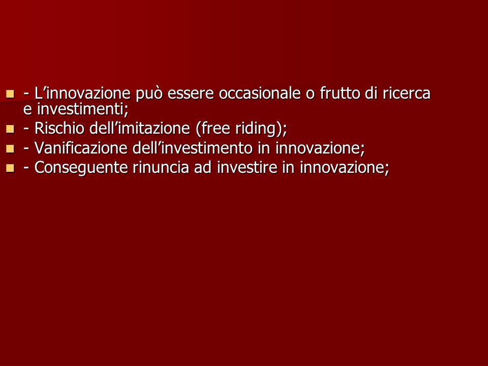 - L'innovazione può essere occasionale o frutto di ricerca e investimenti;
