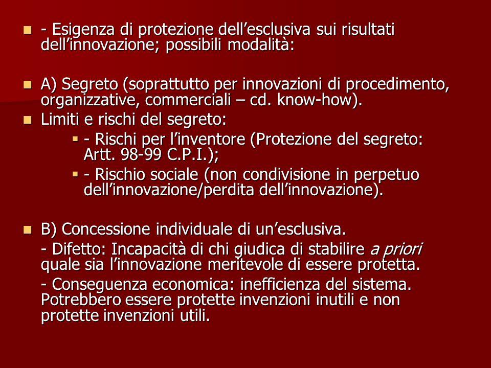 - Esigenza di protezione dell'esclusiva sui risultati dell'innovazione; possibili modalità: