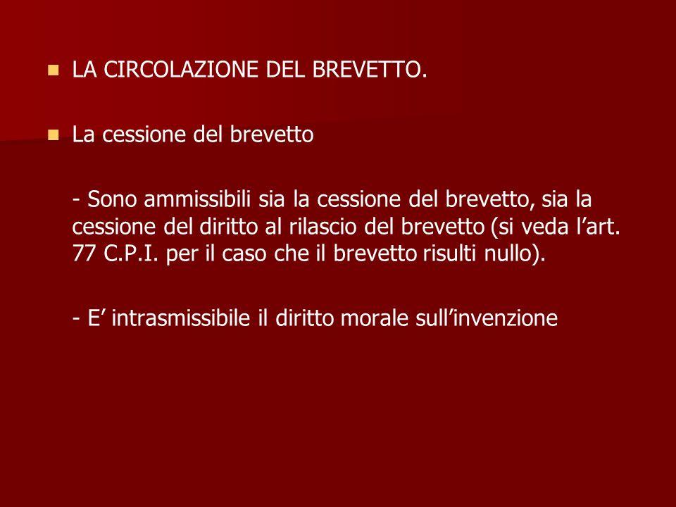 LA CIRCOLAZIONE DEL BREVETTO.