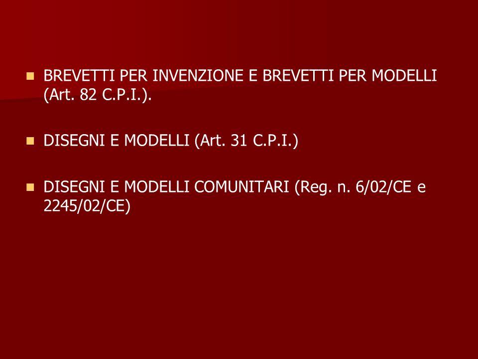 BREVETTI PER INVENZIONE E BREVETTI PER MODELLI (Art. 82 C.P.I.).