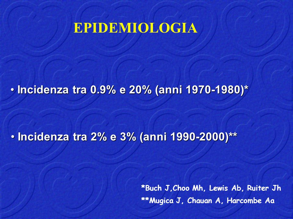 EPIDEMIOLOGIA Incidenza tra 0.9% e 20% (anni 1970-1980)*