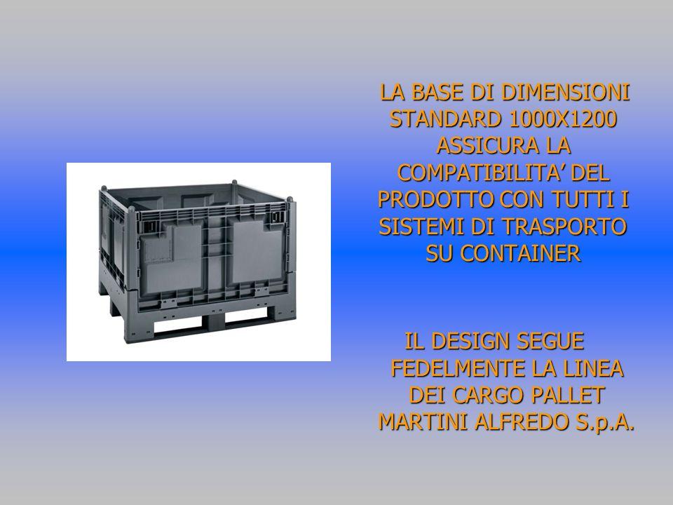 LA BASE DI DIMENSIONI STANDARD 1000X1200 ASSICURA LA COMPATIBILITA' DEL PRODOTTO CON TUTTI I SISTEMI DI TRASPORTO SU CONTAINER