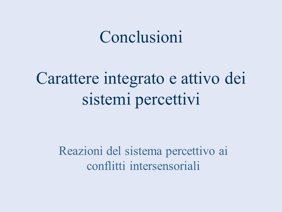 Conclusioni Carattere integrato e attivo dei sistemi percettivi