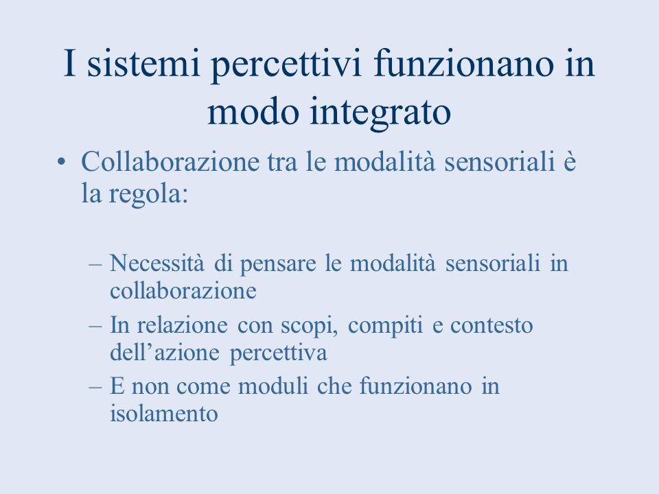 I sistemi percettivi funzionano in modo integrato