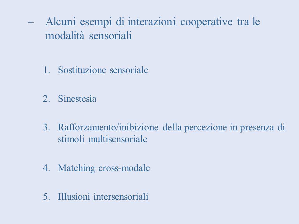 Alcuni esempi di interazioni cooperative tra le modalità sensoriali