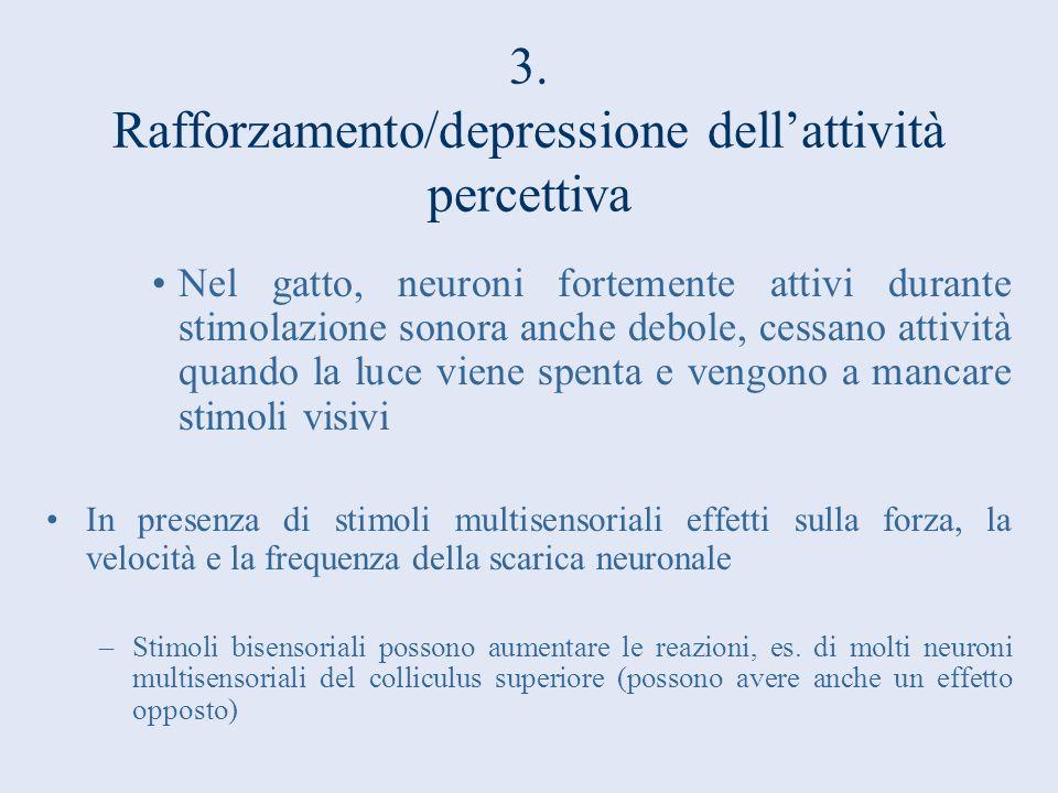 3. Rafforzamento/depressione dell'attività percettiva