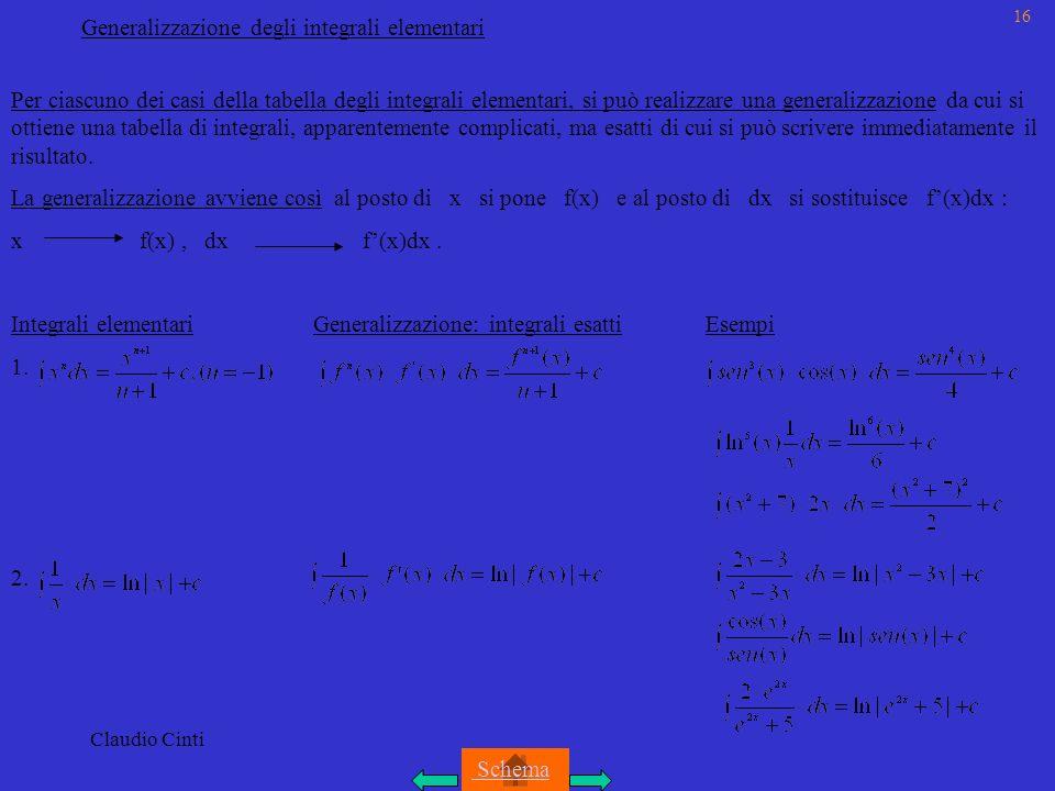 Generalizzazione degli integrali elementari