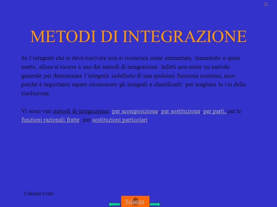 METODI DI INTEGRAZIONE