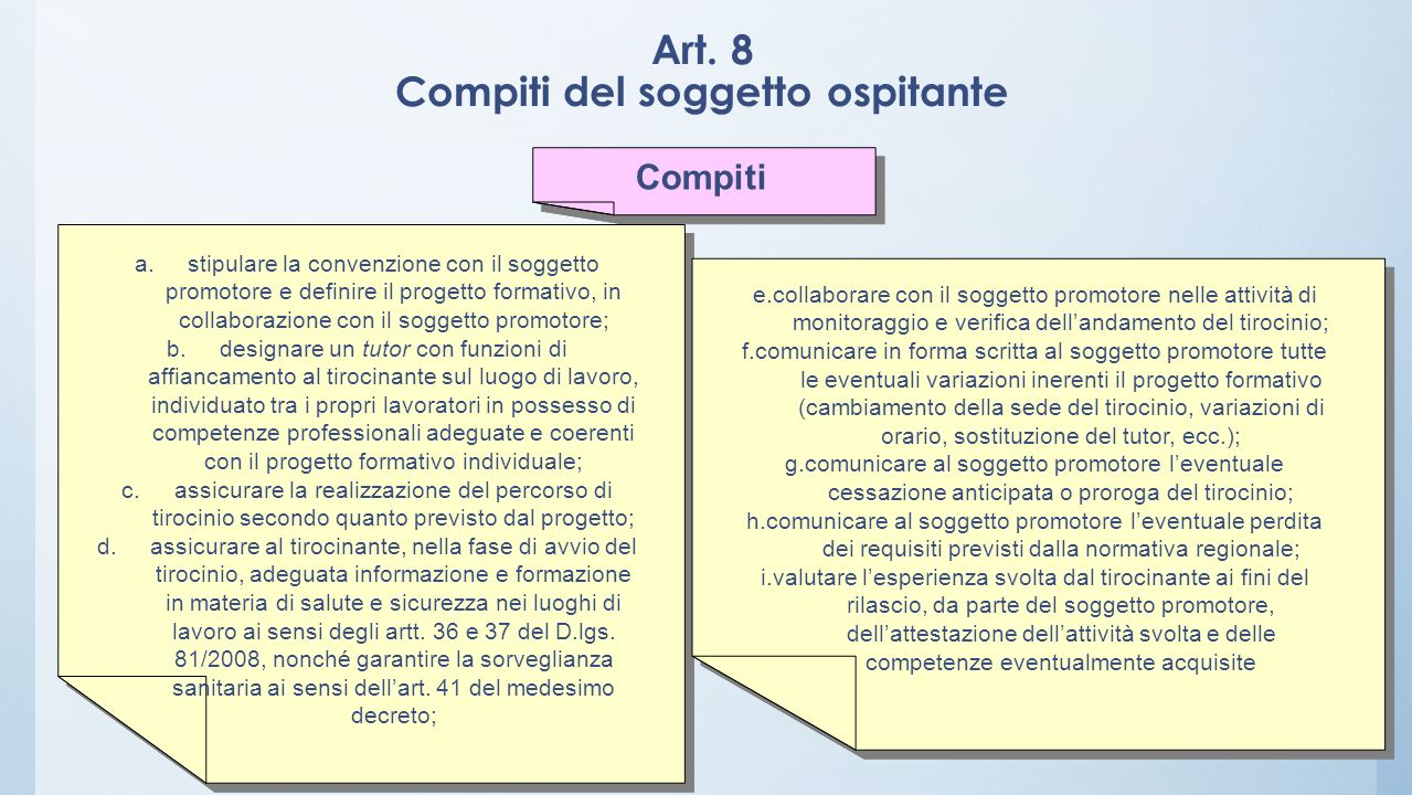 Art. 8 Compiti del soggetto ospitante