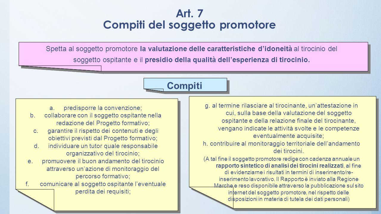 Art. 7 Compiti del soggetto promotore
