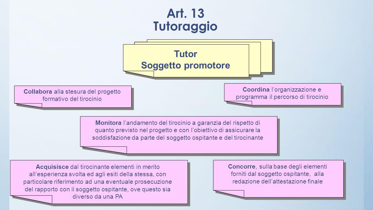 Art. 13 Tutoraggio Tutor Soggetto promotore