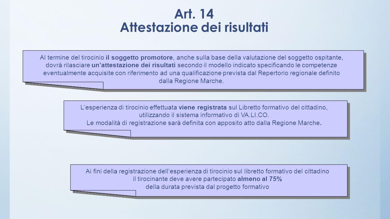 Art. 14 Attestazione dei risultati