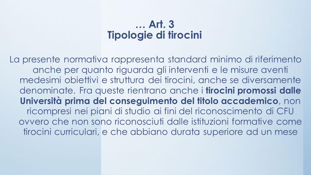 … Art. 3 Tipologie di tirocini
