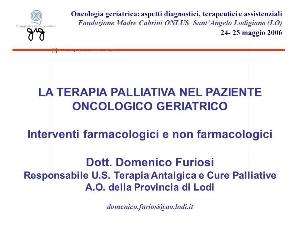Oncologia geriatrica: aspetti diagnostici, terapeutici e assistenziali