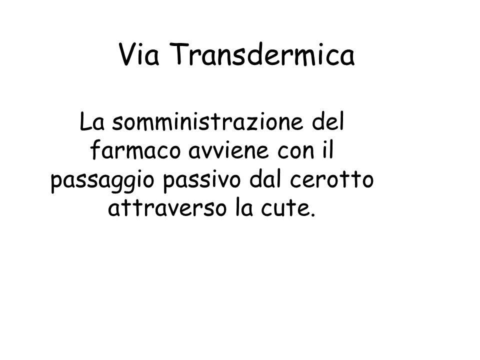 Via Transdermica La somministrazione del farmaco avviene con il passaggio passivo dal cerotto attraverso la cute.