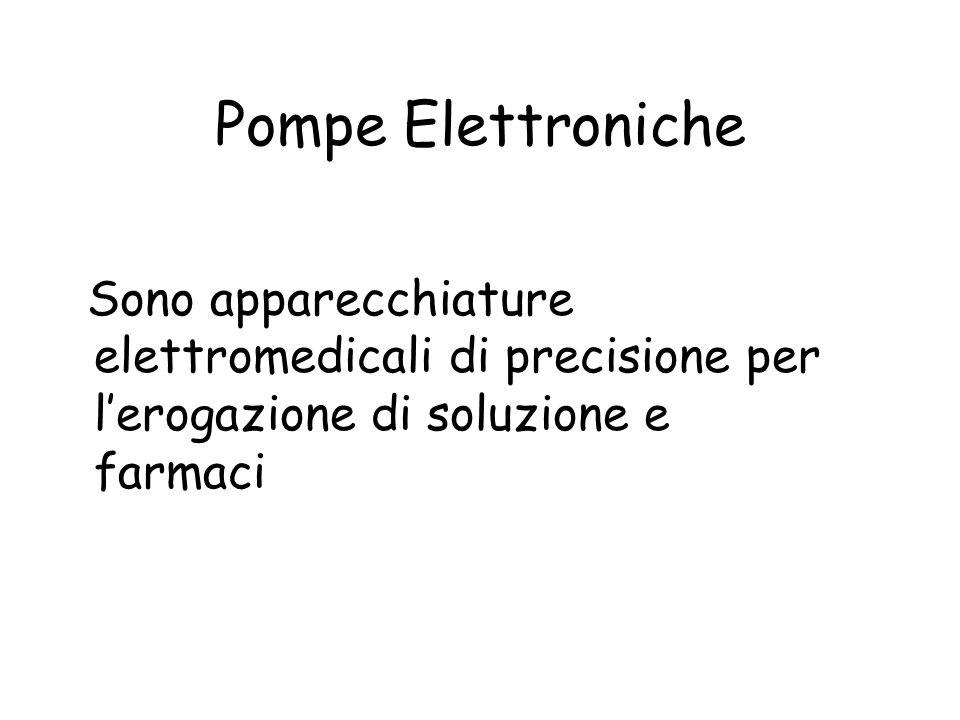 Pompe Elettroniche Sono apparecchiature elettromedicali di precisione per l'erogazione di soluzione e farmaci.