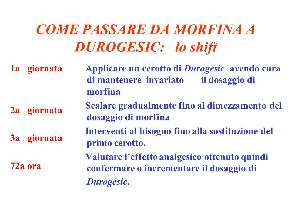 COME PASSARE DA MORFINA A DUROGESIC: lo shift