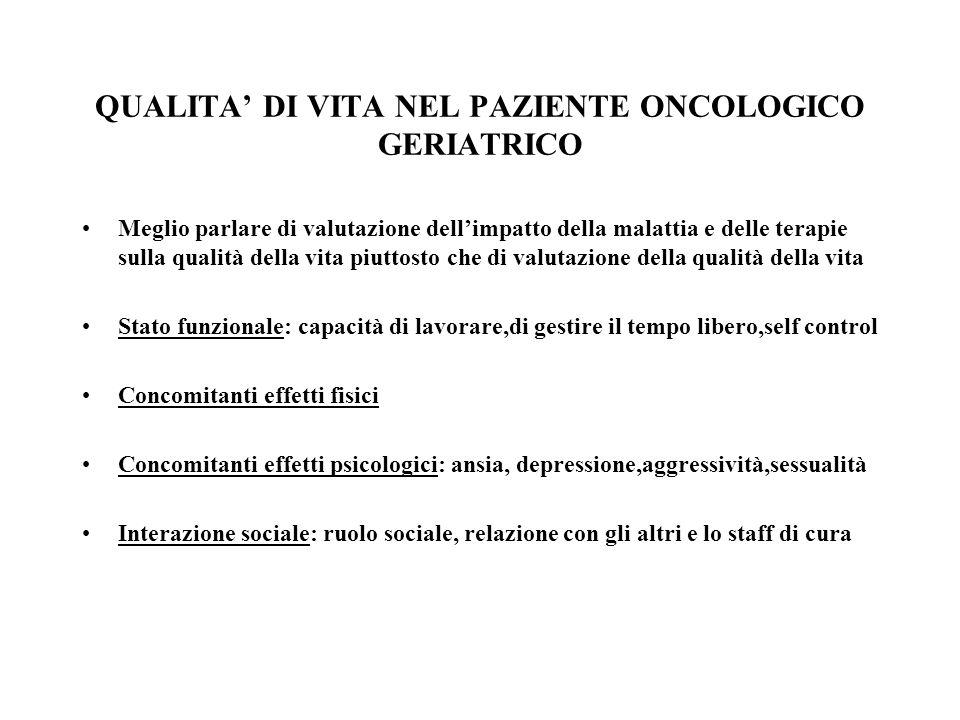 QUALITA' DI VITA NEL PAZIENTE ONCOLOGICO GERIATRICO