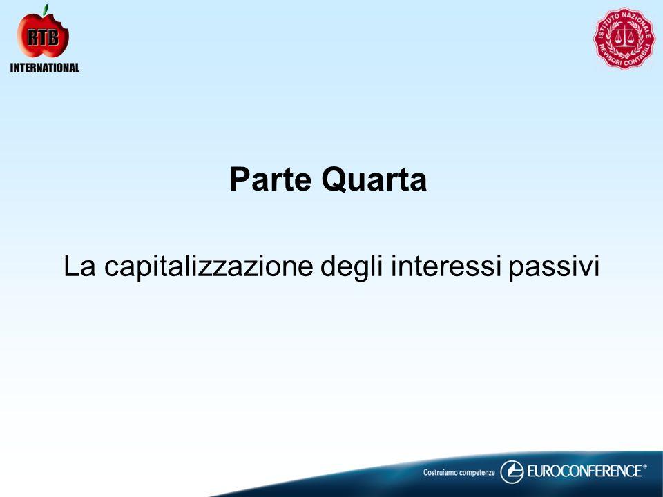 La capitalizzazione degli interessi passivi